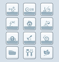 Floor covering specs icons - tech vector