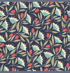 folk flowers vintage seamless pattern vector image