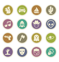 Genres of cinema icons set vector