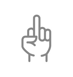 Gesture line icon middle finger up symbol vector