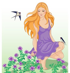 Girl and swallows vector image