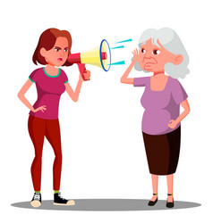 girl screaming to hearing impaired elderly woman vector image