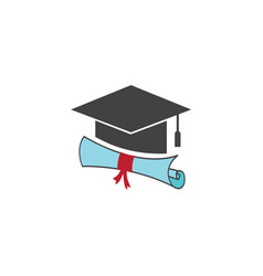 graduation hat diploma icon design isolated vector image