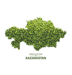 Green leaf map of kazakhstan of a vector