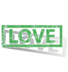 Green outlined LOVE stamp vector image
