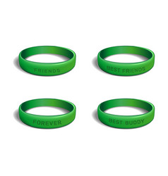 green plastic wristband set for friendship day vector image