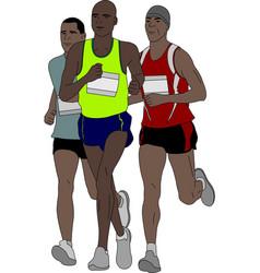 Group marathon runners vector