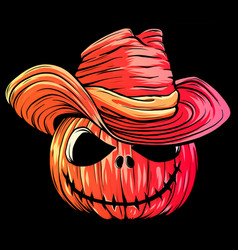 Halloween pumpkin with hat cartoon vector