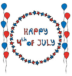 happy usa independence day 4 th july lettering in vector image
