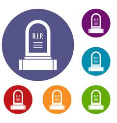 Headstone icons set vector