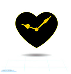 Heart black icon orange hands clock in vector