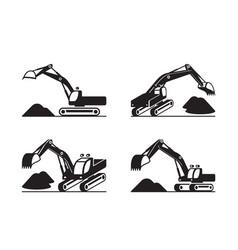 Heavy construction excavator in different perspect vector