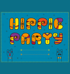 hippie party funny orange font vector image