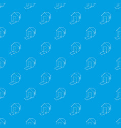 House destroyed pattern seamless blue vector