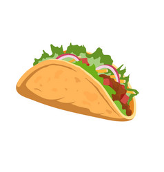 Isolated cartoon taco mexican fastfood icon vector