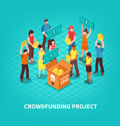 Isometric crowdfunding vector