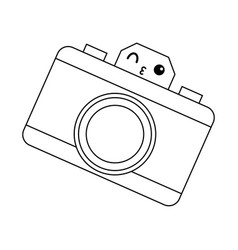 Kawaii photo camera device picture lens flash icon vector