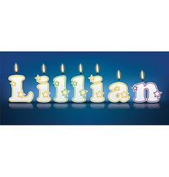 LILLIAN written with burning candles vector