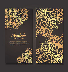 Luxury wedding invitation card with gold mandala vector