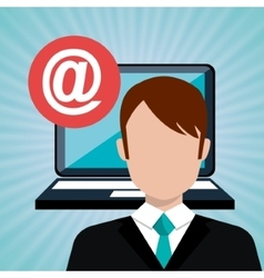 Man laptop email icon vector