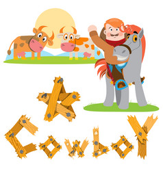 Man on a horse cowboy cows in the meadow farming vector