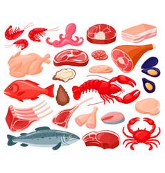 Meat food cartoon seafood and butcher shop food vector