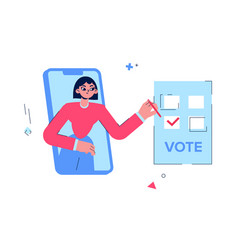 Online voting girl votes for candidate a vector