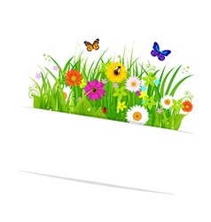 Paper Sticky With Grass And Flowers vector image