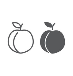 peach line and glyph icon fruit and vitamin vector image