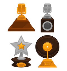 Prestigious honorable gold and silver music awards vector