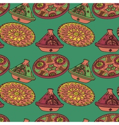 Red and green seamless pattern of arabic crockery vector