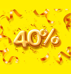 sale 40 off ballon number on yellow background vector image