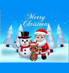 santa claus lettering design - holiday greeting vector image