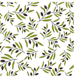 Seamless olive branch pattern vector