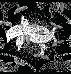 Seamless pattern with silhouettes of dolphins vector