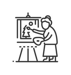 senior woman painting - line design single vector image