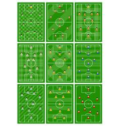 Set nine football fields with different scheme vector