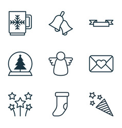 Set of 9 new year icons includes ringer magic vector