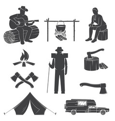 Set of camping icons isolated on the white vector