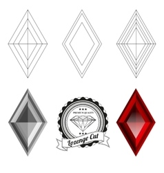 Set of lozenge cut jewel views vector image