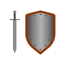 Set of sign shield and sword silver 2108 vector image