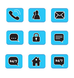 set of web button icons contact symbol collection vector image