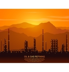 Silhouette of oil refinery or chemical plant vector image