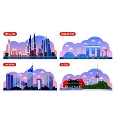 singapore seoul jakarta manama bahrain south vector image