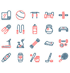 Sport equipment linear color icons set vector