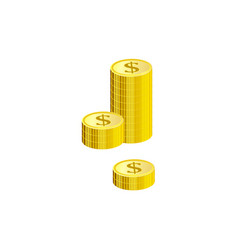 stack of gold dollar coins isolated on white vector image