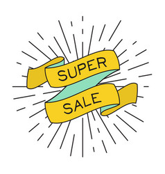 super sale poster with ribbon and vintage light vector image