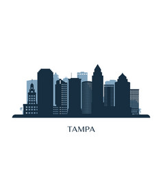tampa skyline monochrome silhouette vector image