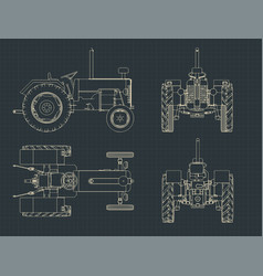 Tractor drawings vector