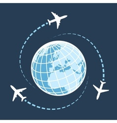 traveling around world air transport vector image